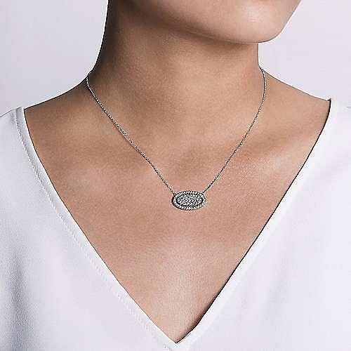 14k White-Rose Gold Pavé Diamond Oval Pendant Necklace