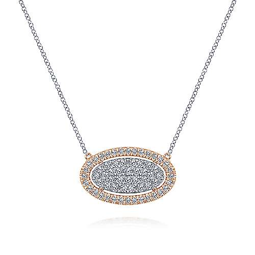 Gabriel - 14k White/Rose Gold Pave Diamond Oval Pendant Fashion Necklace