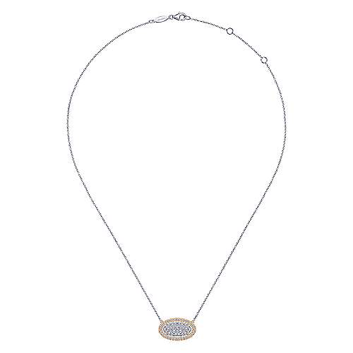 14k White/Rose Gold Pave Diamond Oval Pendant Fashion Necklace