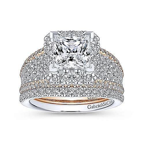 14k White-Rose Gold Princess Cut Halo Diamond Engagement Ring