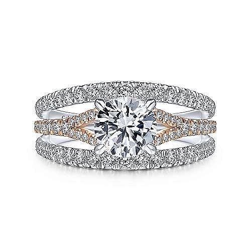 Gabriel - 14k White/Rose Gold Round Diamond Engagement Ring
