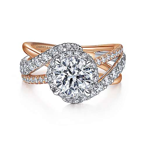 Gabriel - 14k White/Rose Gold Round Halo Diamond Engagement Ring