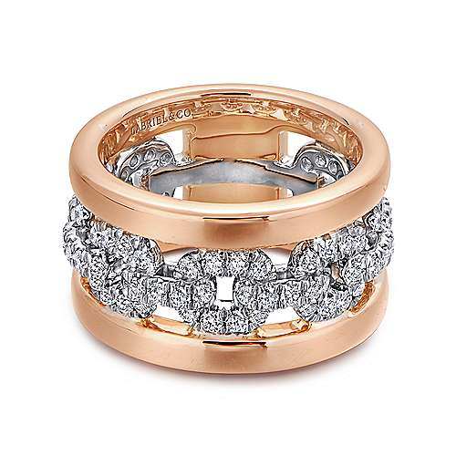Gabriel - 14k White and Rose Gold Fancy Anniversary Band