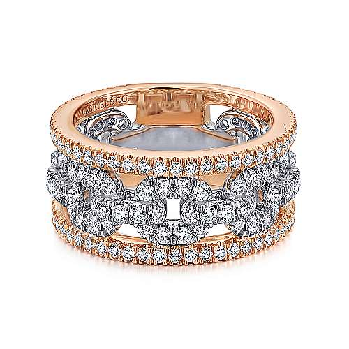 14k White and Rose Gold Fancy Anniversary Band