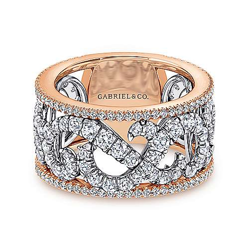 14k White and Rose Gold French pave Set Fancy Diamond Ring