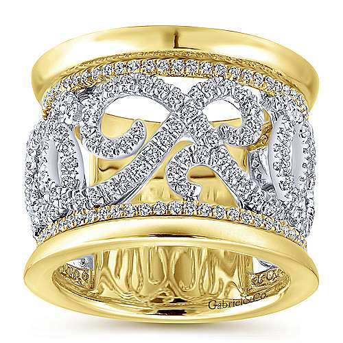 14k White and Yellow Gold French Pavé Set Fancy Diamond Ring