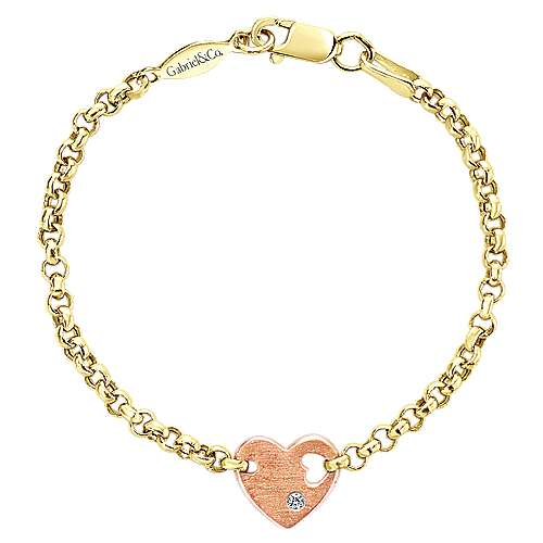 14k Yellow And Rose Gold Secret Garden Heart Bracelet angle 1