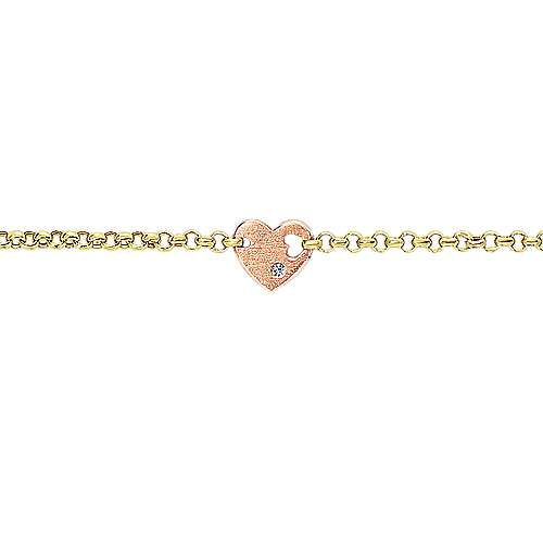 14k Yellow And Rose Gold Secret Garden Heart Bracelet angle 2