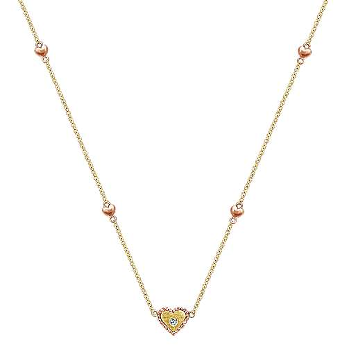 14k Yellow And Rose Gold Secret Garden Heart Necklace angle 1