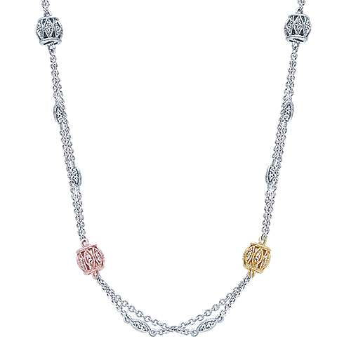 Gabriel - 14k Yellow And White And Rose Gold Endless Diamonds Station Necklace