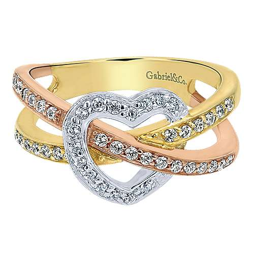 Gabriel - 14k Yellow And White And Rose Gold Eternal Love Fashion Ladies' Ring