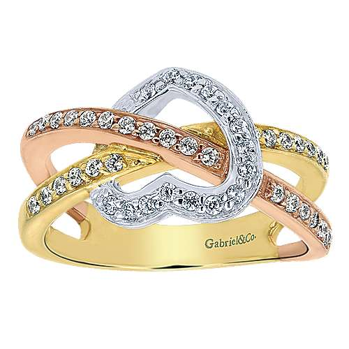 14k Yellow And White And Rose Gold Eternal Love Fashion Ladies' Ring angle 4