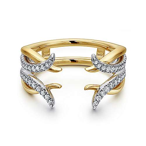 14k Yellow And White Gold Contemporary Enhancer Anniversary Band angle 1