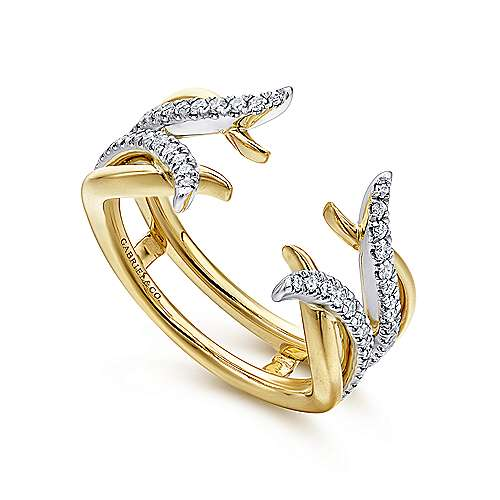 14k Yellow And White Gold Contemporary Enhancer Anniversary Band angle 3