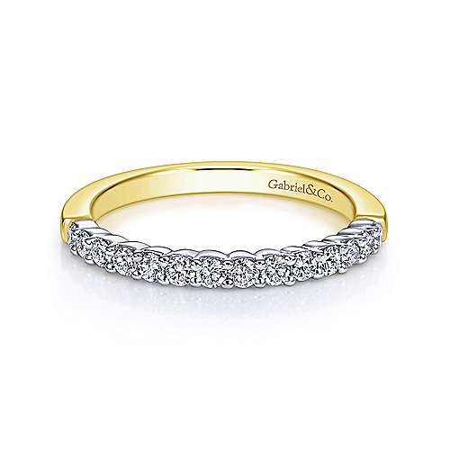 Gabriel - 14k Yellow And White Gold Contemporary Straight Wedding Band