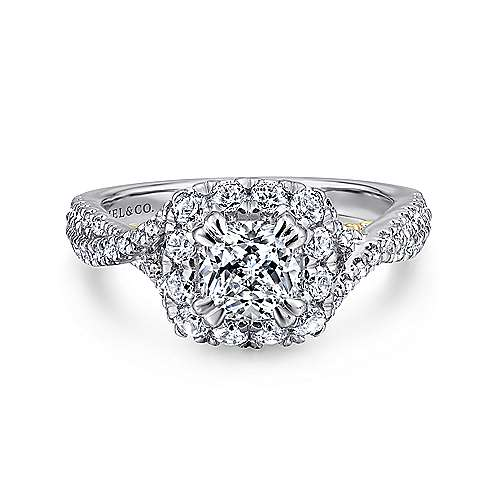Gabriel - 14k Yellow And White Gold Cushion Cut Halo Engagement Ring