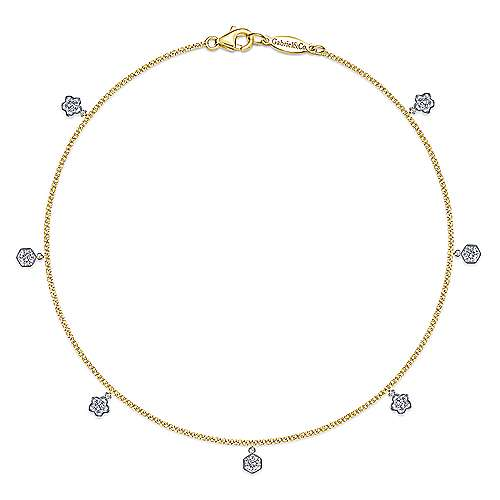 Gabriel - 14k Yellow And White Gold Eternal Love Chain Ankle Bracelet