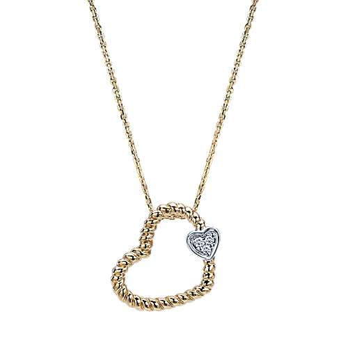 Gabriel - 14k Yellow And White Gold Eternal Love Heart Necklace