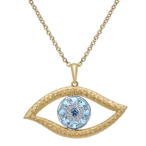 14k Yellow And White Gold Evil Eye Fashion Necklace angle 1