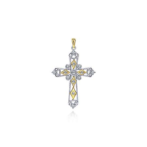 14k Yellow And White Gold Faith Cross Cross Pendant angle 1