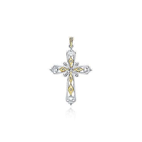 14k Yellow And White Gold Faith Cross Cross Pendant angle 2