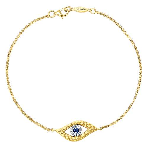 14k Yellow And White Gold Faith Evil Eye Bracelet