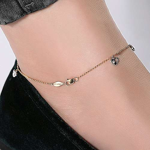 14k Yellow And White Gold Floral Chain Ankle Bracelet