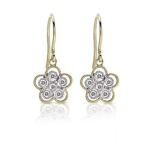 14k Yellow And White Gold Floral Drop Earrings angle 1