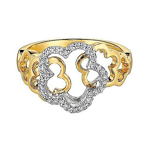 Gabriel - 14k Yellow And White Gold Floral Fashion Ladies' Ring