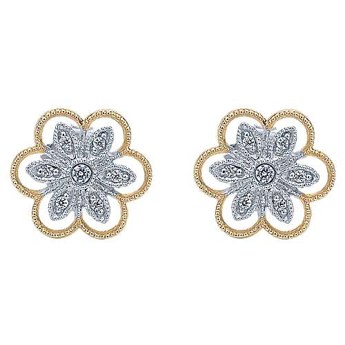 14k Yellow And White Gold Floral Stud Earrings angle 1