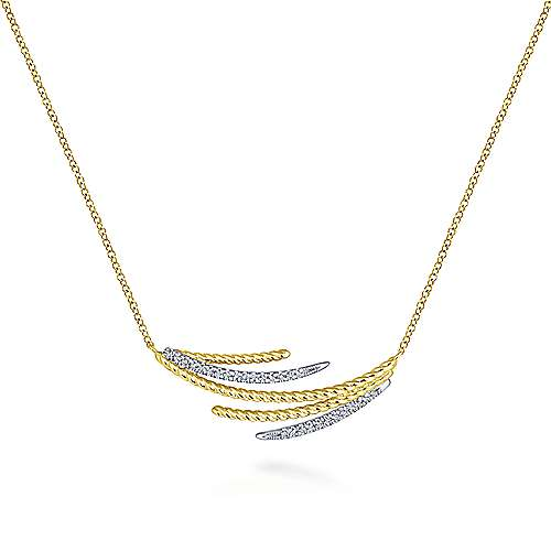 14k Yellow And White Gold Hampton Bar Necklace angle 1