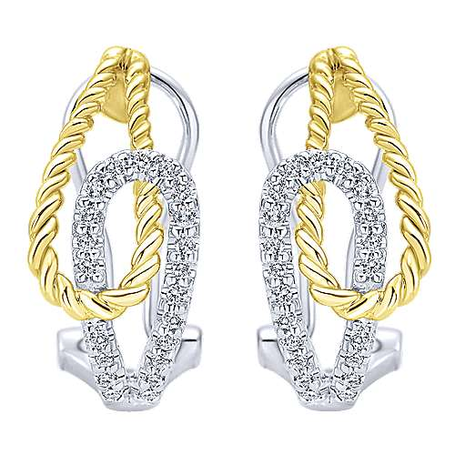14k Yellow And White Gold Hampton Fashion Earrings angle 1