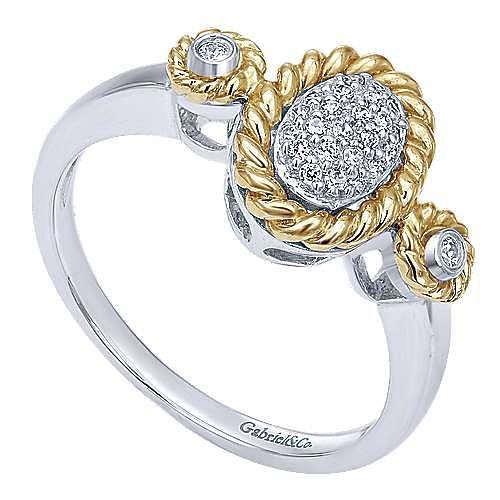 14k Yellow And White Gold Hampton Fashion Ladies' Ring angle 3