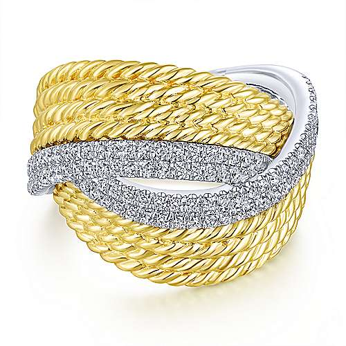 Gabriel - 14k Yellow And White Gold Hampton Fashion Ladies' Ring