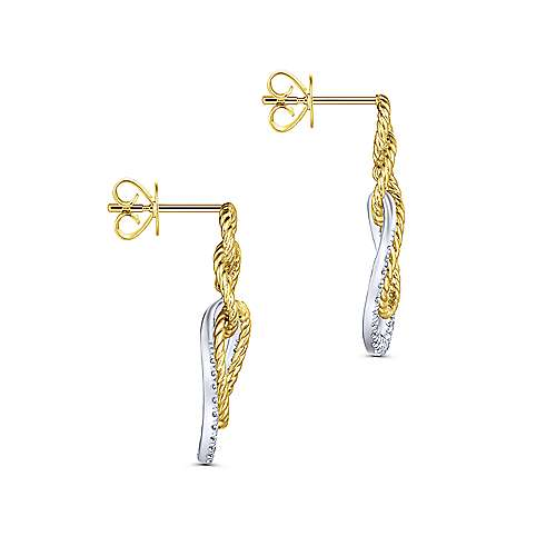 14k Yellow And White Gold Hampton Stud Earrings angle 3