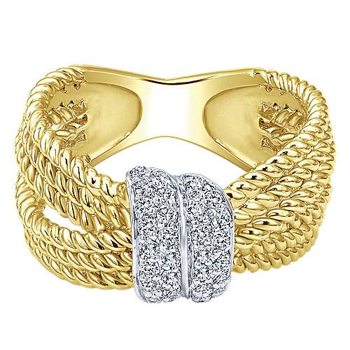 Gabriel - 14k Yellow And White Gold Hampton Twisted Ladies Ring