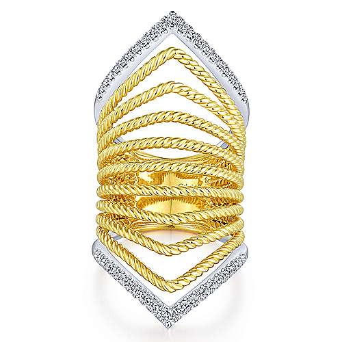 14k Yellow And White Gold Hampton Wide Band Ladies' Ring angle 1