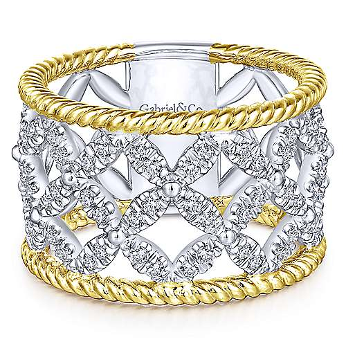 Gabriel - 14k Yellow And White Gold Hampton Wide Band Ladies' Ring