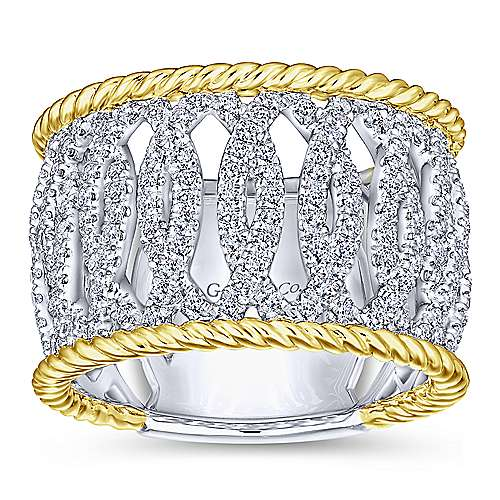 14k Yellow And White Gold Hampton Wide Band Ladies' Ring angle 4