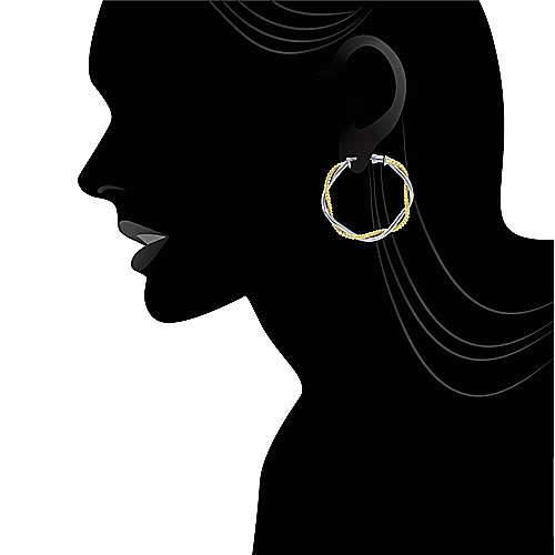 14k Yellow And White Gold Hoops Classic Hoop Earrings angle 4