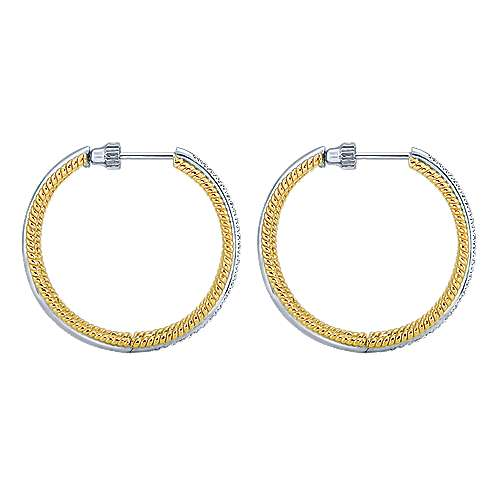 14k Yellow And White Gold Hoops Classic Hoop Earrings angle 3