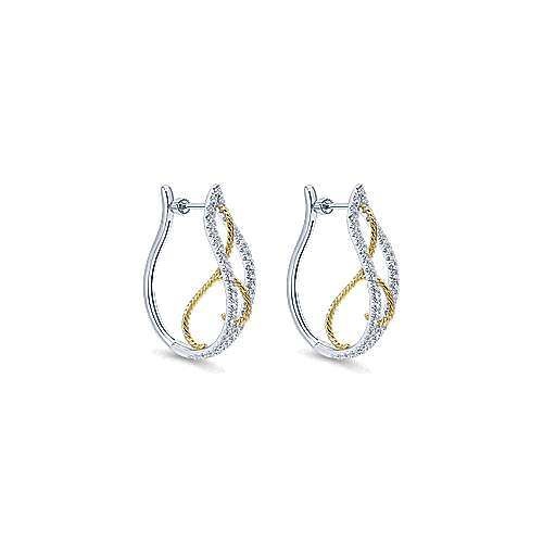 Gabriel - 14k Yellow And White Gold Hoops Intricate Hoop Earrings