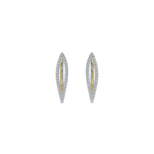 14k Yellow And White Gold Hoops Intricate Hoop Earrings angle 3