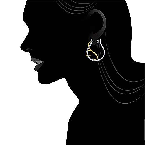 14k Yellow And White Gold Hoops Intricate Hoop Earrings angle 4