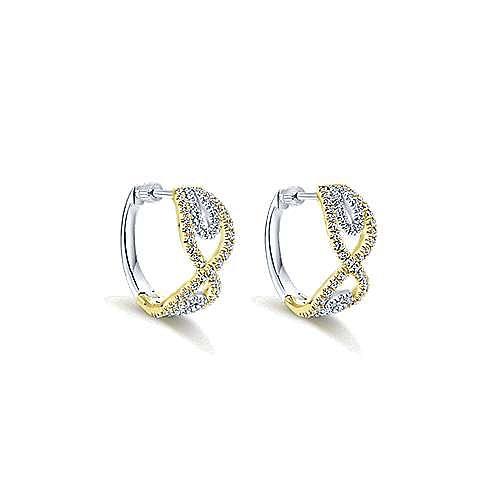14k Yellow And White Gold Huggies Huggie Earrings angle 1