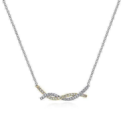 14k Yellow And White Gold Indulgence Bar Necklace angle 1
