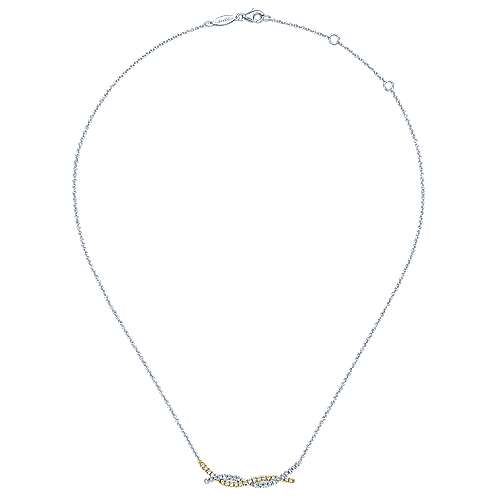 14k Yellow And White Gold Indulgence Bar Necklace angle 2