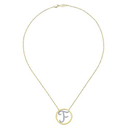 14k Yellow And White Gold Initial Necklace angle 2