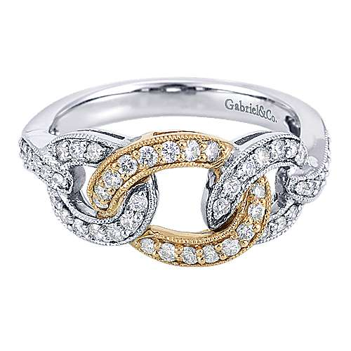 14k Yellow And White Gold Lusso Diamond Fashion Ladies' Ring angle 1