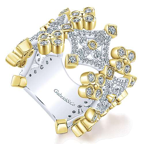 14k Yellow And White Gold Lusso Diamond Wide Band Ladies' Ring angle 3